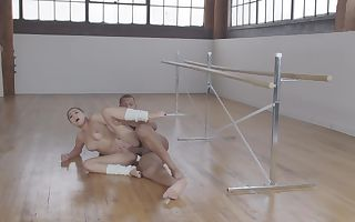 Petite ballerina was fucked by bulky partner after training