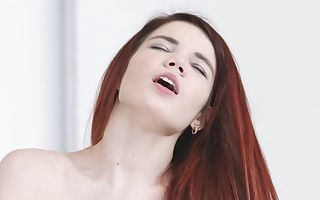 Tight butthole of red-haired chick is penetrated with dude's dick