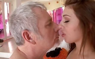 Old stud likes young ass of daughter-in-law bouncing on his dick