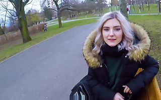 Cute teen swallows spunk for cash - public blowjob in the park by Eva Elfie