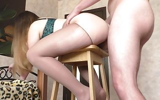 Pounds Anal Step Sister with Fat Nuts on Bar Chair