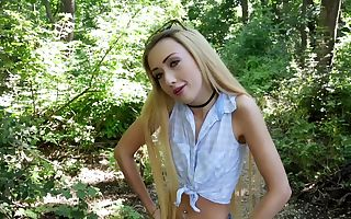 Teen nymph in the woods loves dick buried in her pussy